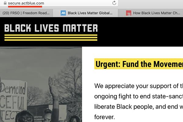 在BLM官網上點擊「捐款」,捐款鏈接會立即重定向到名為ActBlue的慈善組織,見左上角紅線標示。(BLM網站截圖)