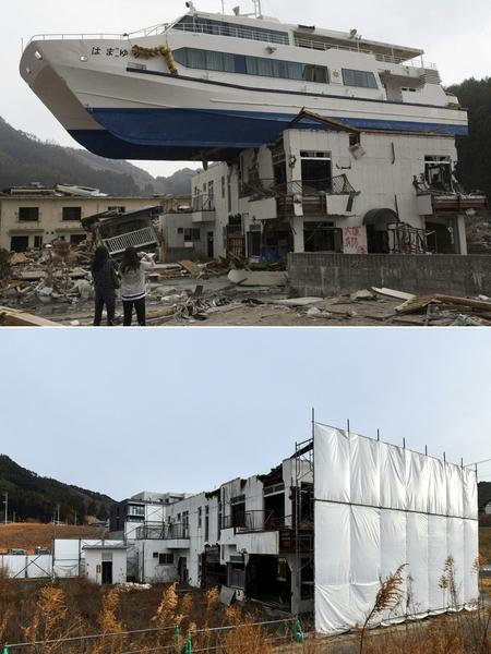 日本311大地震重災區岩手縣大槌町(Otsuchi, Iwate)今昔對比圖。上圖攝於2011年4月16日,下圖攝於2021年3月4日。(YASUYOSHI CHIBA,KAZUHIRO NOGI/AFP via Getty Images)