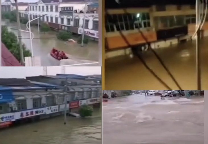 7月19日晚,安徽省六安市裕安區固鎮鎮大多數民眾一夜無眠,很多人因洪水被捆在樓頂上等待救援。(影片截圖合成)