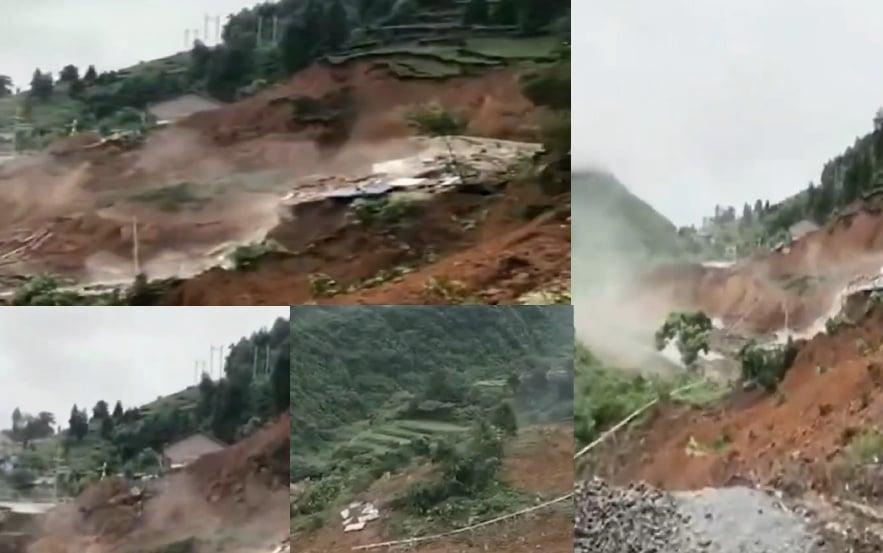 7月6日傍晚,湖南省常德市石門縣發生大型山泥傾瀉。(影片截圖合成)