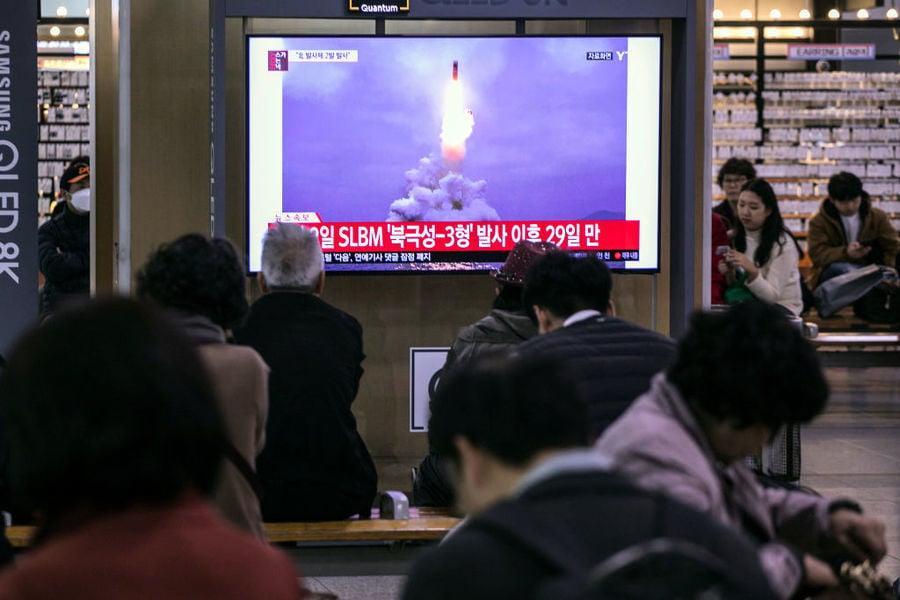 南韓軍方:北韓發射了兩枚彈道導彈