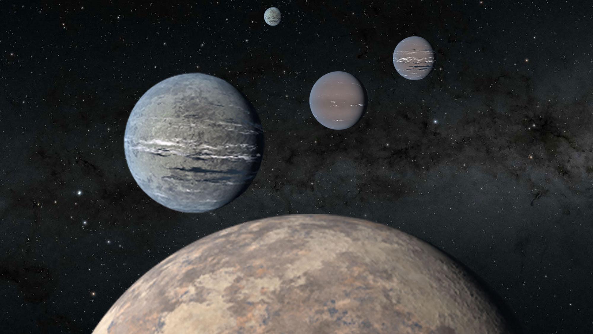 位於恆星TOI-1233系統內的四顆行星的藝術假想圖。(NASA/JPL-CALTECH)