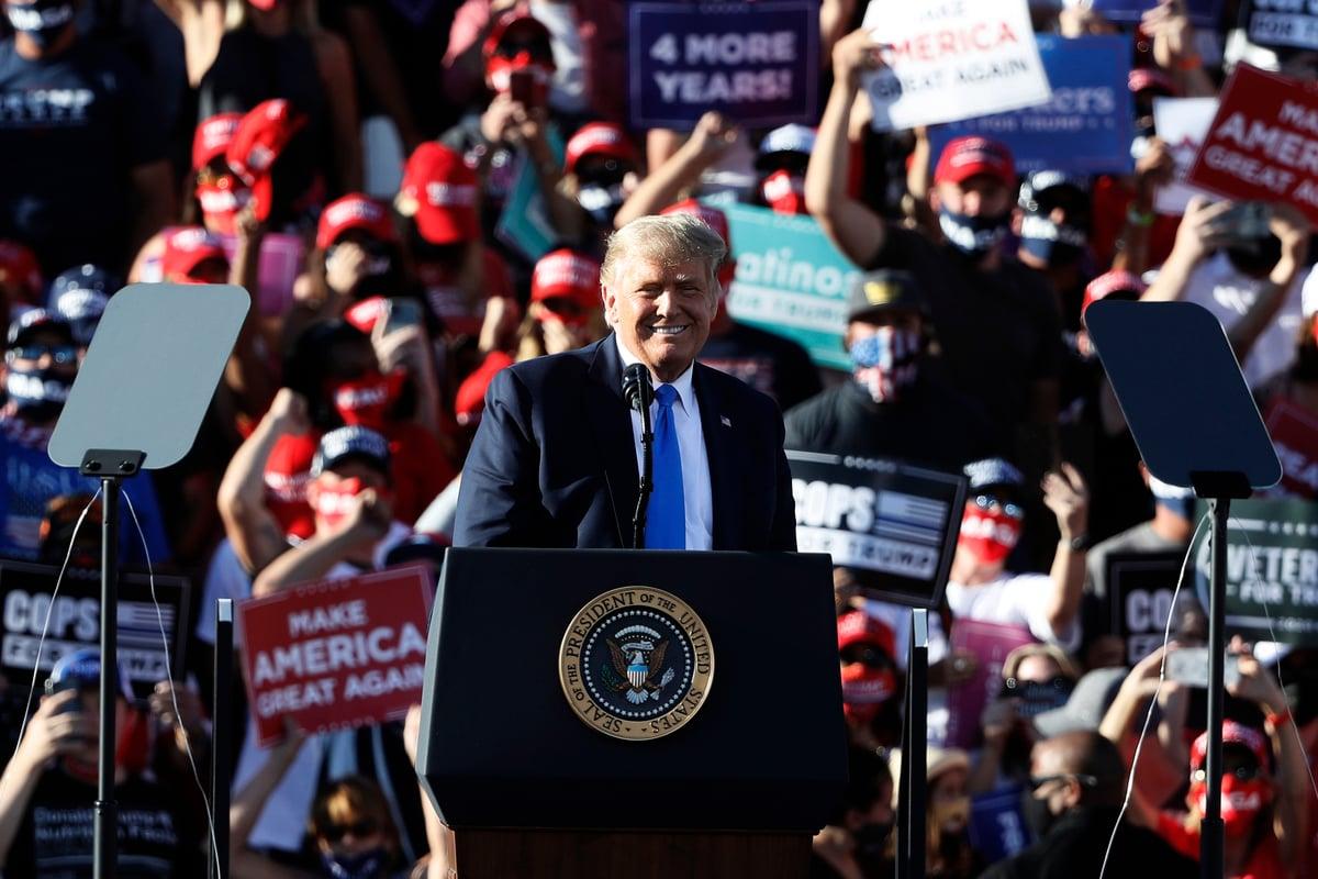 2020年10月18日,唐納德·特朗普總統在內華達州卡森市(Carson City)舉行的競選集會上。 (Stephen Lam/Getty Images)