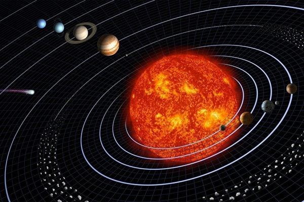 太陽系及其九大行星示意圖。(pixabay)