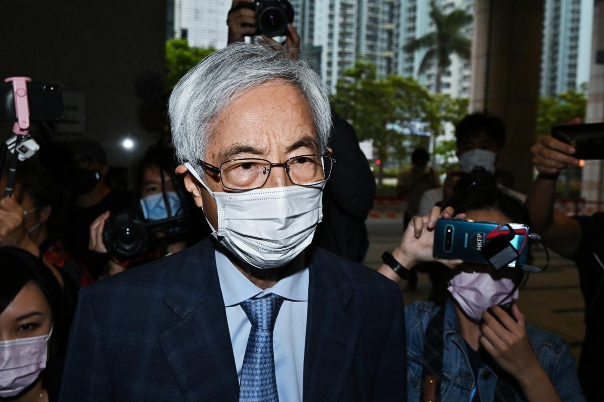 2021年4月16日下午,香港「8·18集會」案中黎智英等九位民主人士被判刑。圖為李柱銘步出法庭。(宋碧龍/大紀元)