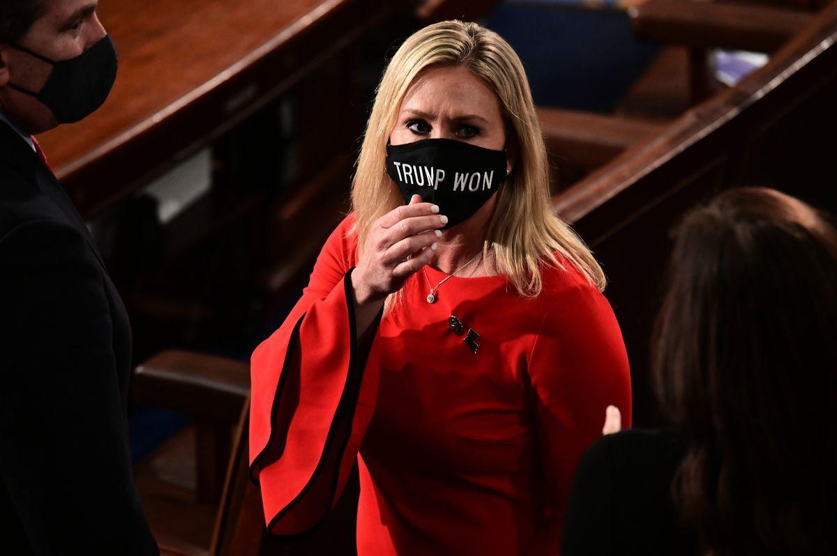 圖為美國佐治亞州的新當選國會女議員瑪喬麗‧格林(Marjorie Taylor Greene)。(ERIN SCOTT/POOL/AFP via Getty Images)