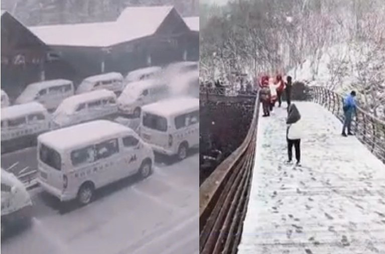 5月25日吉林多地降雪。(影片截圖合成)