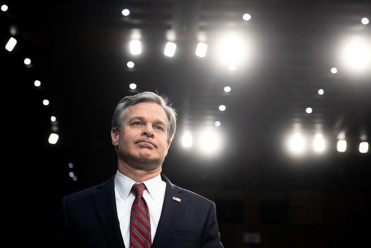 美國聯邦調查局(FBI)局長克里斯托弗·雷(Christopher Wray)周五稱,中共是對美國最大的威脅。(SAUL LOEB / AFP)