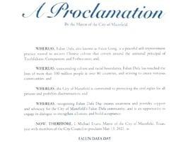 美國達拉斯地區曼斯菲爾德市宣佈法輪大法日
