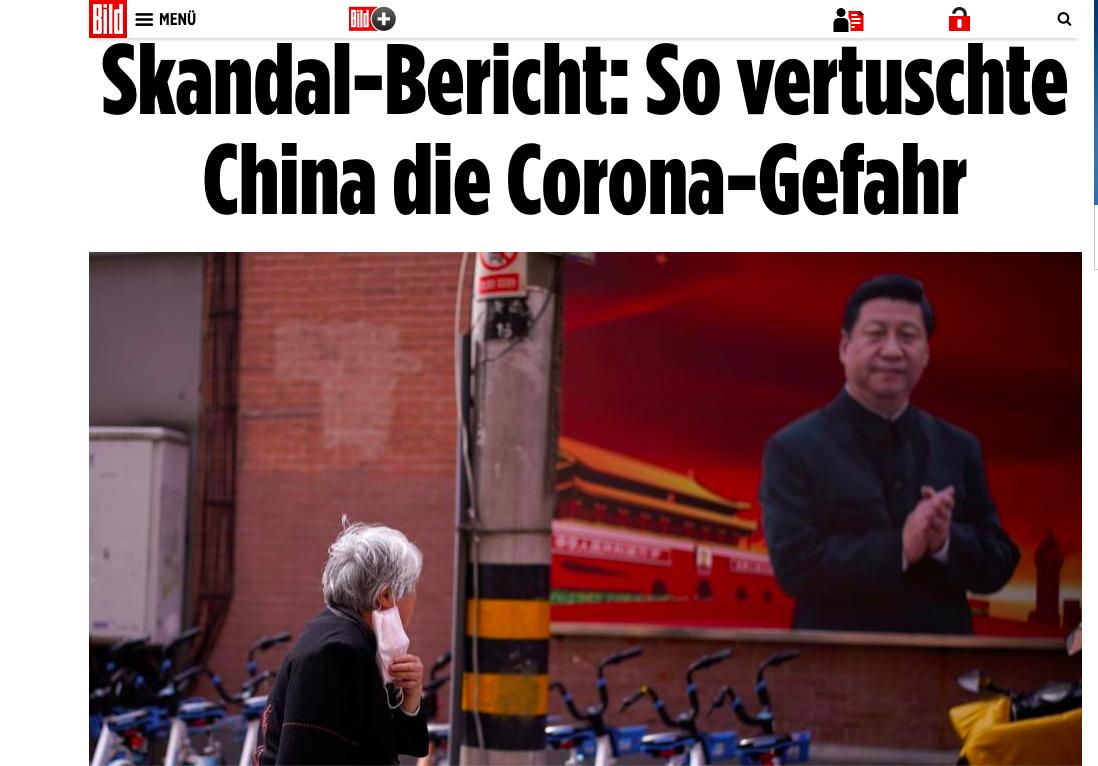 2020年3月19日,歐洲發行量最大的日報德國《圖片報》,發文披露中共隱瞞疫情,並要求中共給出解釋。(網絡截圖)