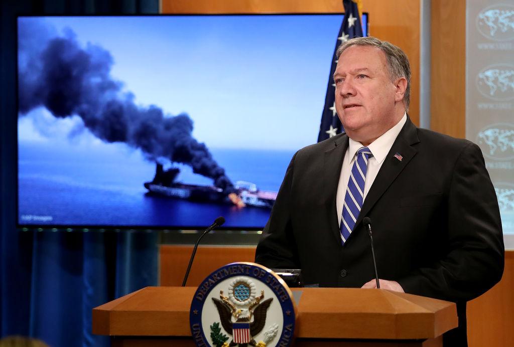 美國國務卿蓬佩奧周日(6月16日)表示,美國準備在必要時對伊朗採取行動。(Win McNamee/Getty Images)