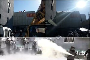 北京肯特公寓數十業者扺抗強拆 雙方爆衝突