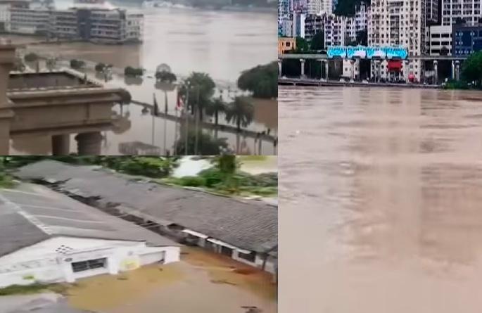 長江2020年第5號洪水、嘉陵江2020年第2號洪水8月19日過境重慶市。(大紀元合成)