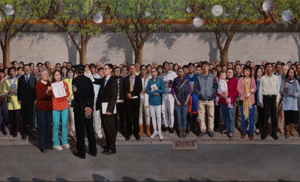香港畫家孔海燕在2019年新唐人「全世界人物寫實油畫大賽」中以巨型油畫《一九九九年四月二十五日》獲得金獎。圖為該作品的局部畫面。(新唐人大賽網站)
