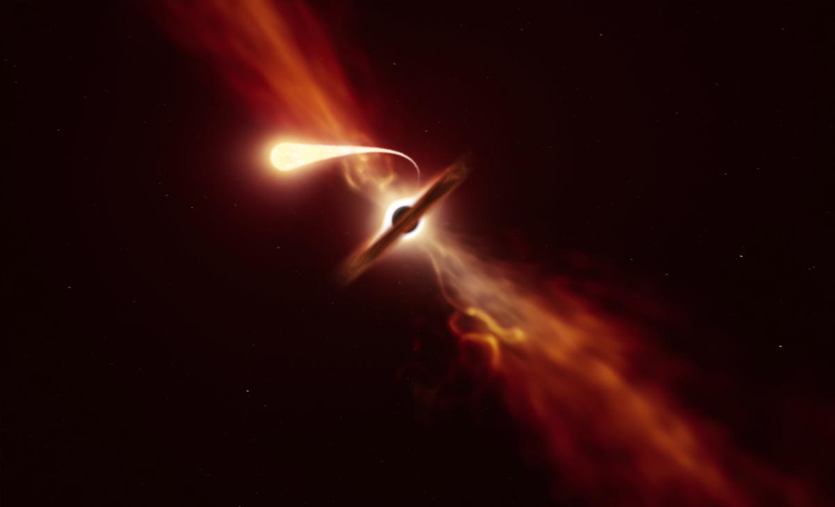 黑洞吞噬恆星概念圖。(M. KORNMESSER/European Southern Observatory/AFP)