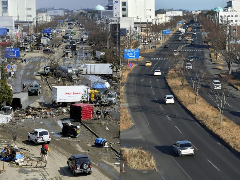 日本311大地震重災區宮城縣多賀城市(Tagajo,Miyagi)今昔對比圖。左圖攝於2011年3月13日,右圖攝於2021年3月4日。(PHILIPPE LOPEZ,KAZUHIRO NOGI/AFP via Getty Images)