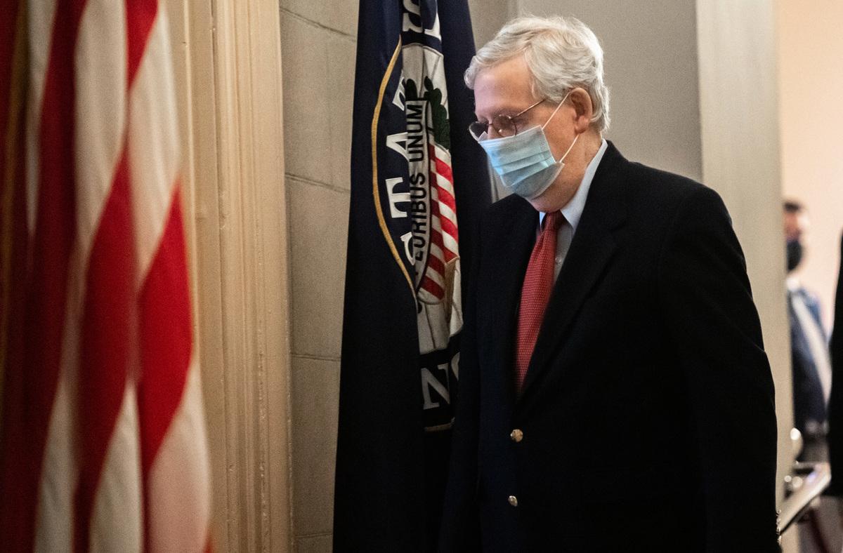 2020年12月29日中午,美國參議院多數黨領袖麥康奈爾表示,參議院將處理特朗普總統提出的三個要求。(Photo by SAUL LOEB / AFP)