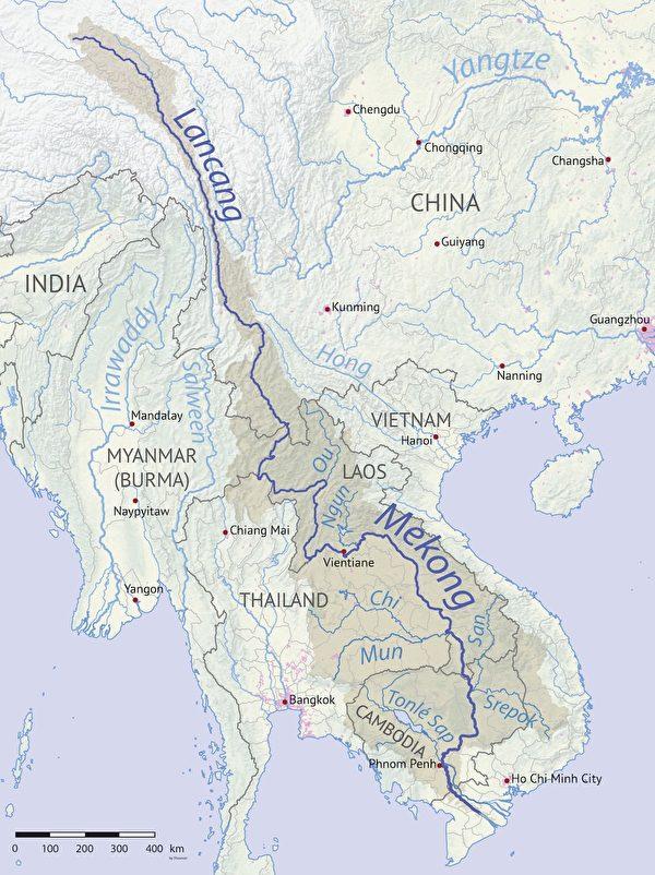 湄公河是瀾滄江的下游河段、東南亞最重要的跨國水系。流出中國國界後,流經老撾、緬甸、泰國、柬埔寨和越南。中共在湄公河流域投資建設眾多大型基建項目,對湄公河流域百姓的生計造成了直接威脅。(Shannon1/維基百科)