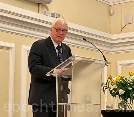 前港督彭定康受邀在「香港監察」的首屆「阿什當紀念演講活動」發表了長達一小時的公開演說,發表了他對香港自九七以來走勢的看法。(唐詩韻/大紀元)