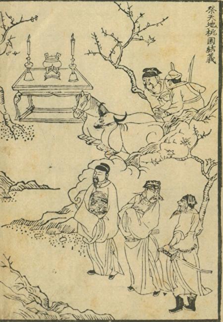 《三國誌圖像》之「祭天地桃園結義」(公有領域)