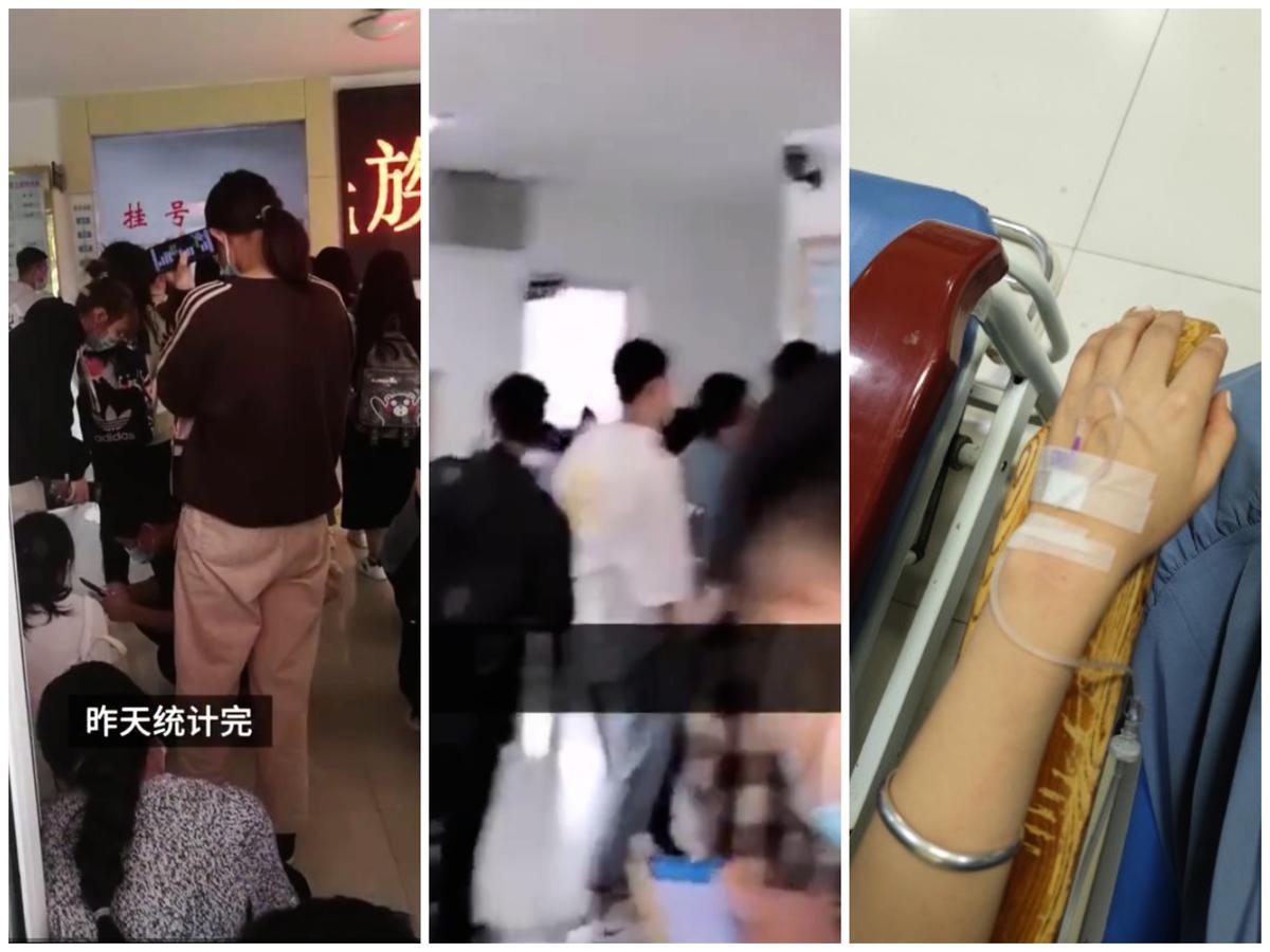 甘肅西北民族大學榆中校區爆發大面積諾如病毒感染,學生排隊就醫。(影片截圖)