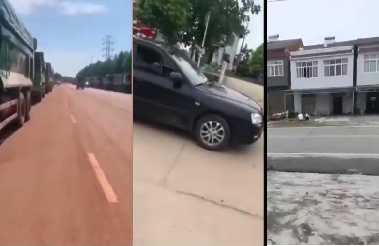 圖左邊為鄱陽縣馬路上大批裝滿泥土的汽車,中間為湖北的廣播車,右邊為消泗鄉港洲村。(影片截圖合成)