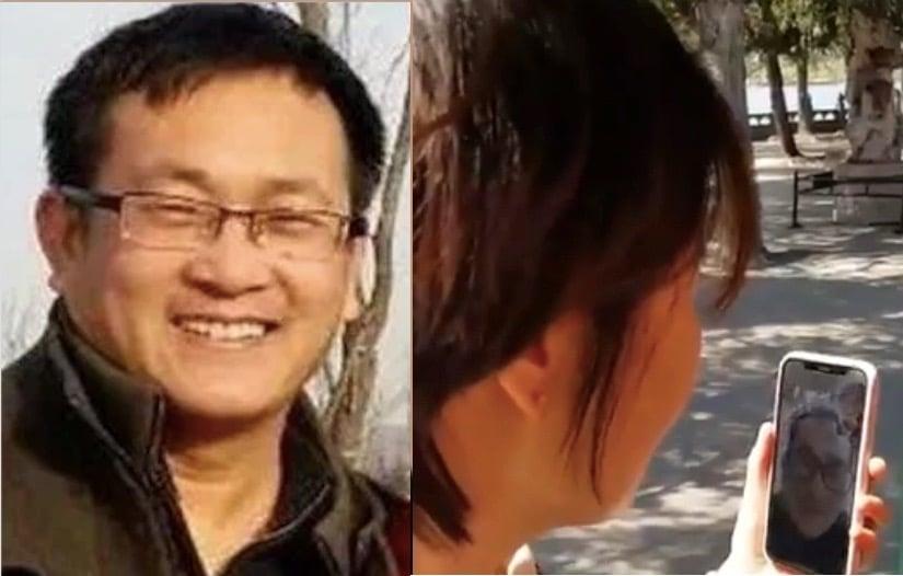 王全璋與妻子影片,出獄後首次露面。左為王全璋入獄前,右手機中的王全璋為出獄後。(李文足推特、野靖環推特合成)
