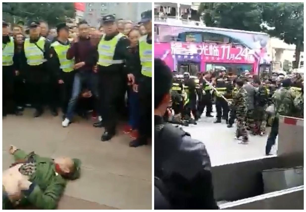 近期,中國頻頻爆發老兵集體上訪事件,多省市已出現維權事件,而且還爆發衝突。老兵遭毆打、噴辣椒水、監控等打壓。(大紀元合成圖)