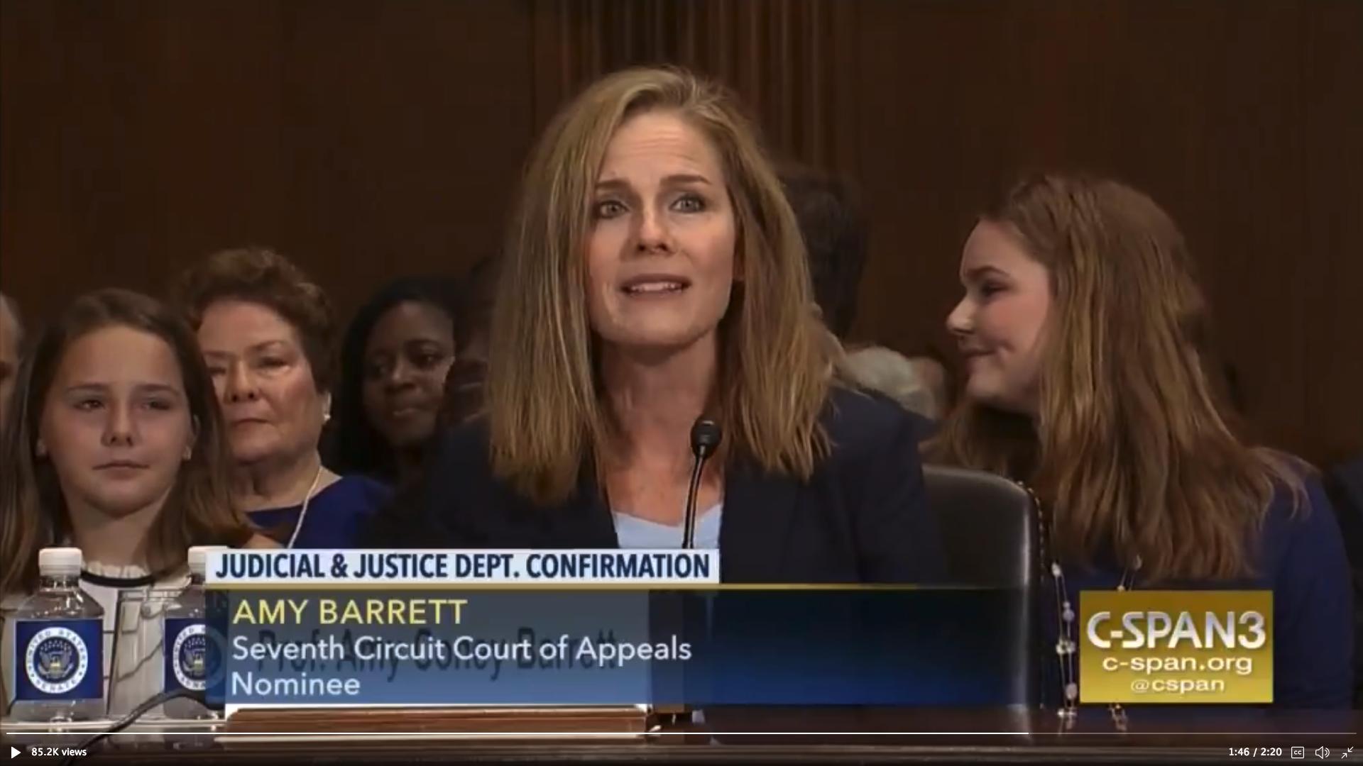 圖為艾米·科尼·巴雷特(Amy Coney Barrett)2017年在國會參議院接受第七巡迴上訴法院法官提名聽證現場。(C-span截圖)