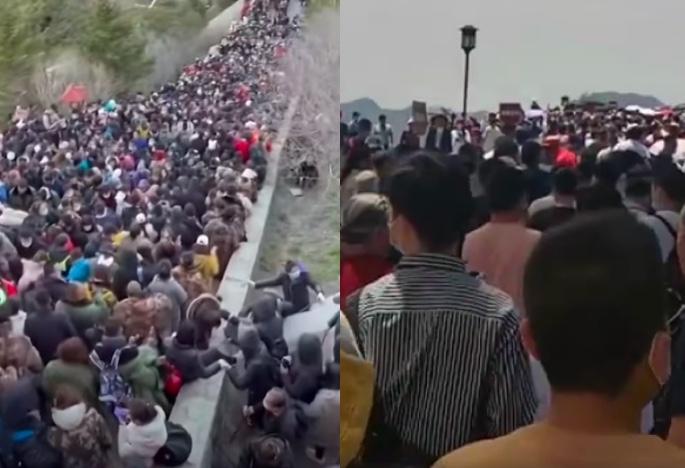 2021年五一長假首日,浙江杭州西湖斷橋上擠滿遊客(右);網傳山東泰山也是人山人海(左)。(影片截圖合成)