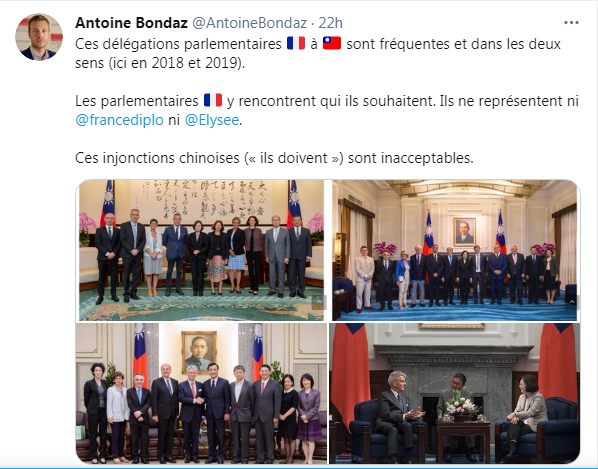 法國學者邦達茲(Antoine Bondaz)痛批中共戰狼外交。圖為邦達茲推特截圖。