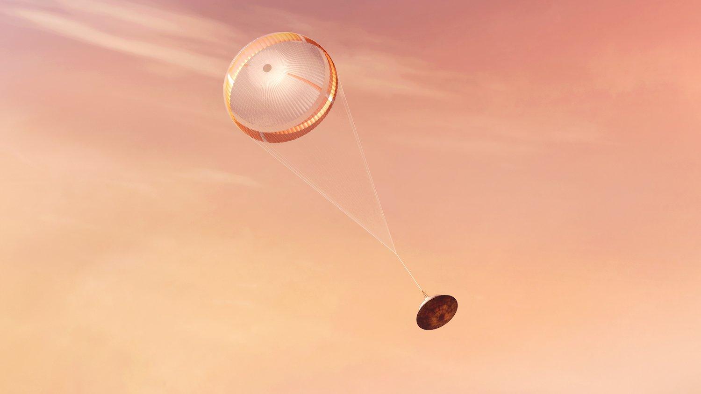 毅力號著陸火星的假想圖。(NASA)