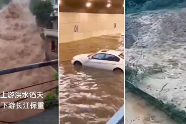 重慶主城、綦江暴雨,山區泥流沖毀高速路段。(影片截圖)
