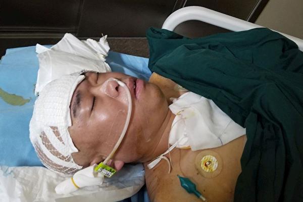 法輪功學員姚新人昏迷9個多月,被迫害成植物人狀態。(明慧網)