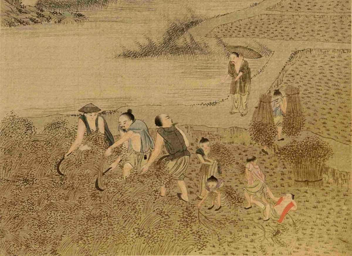 唆魯禾帖尼採取了不同於草原放牧經濟的做法,即想辦法促進當地農耕經濟。示意圖,圖為清焦秉貞《耕織圖》冊局部。(公有領域)