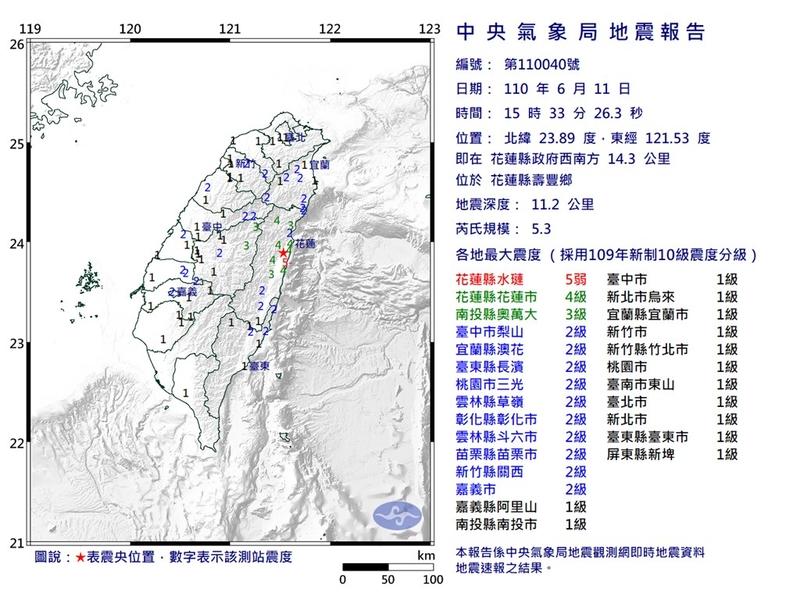 台灣中央氣象局表示,6月11日下午3時33花蓮分發生黎克特制5.3地震。(中央氣象局提供)
