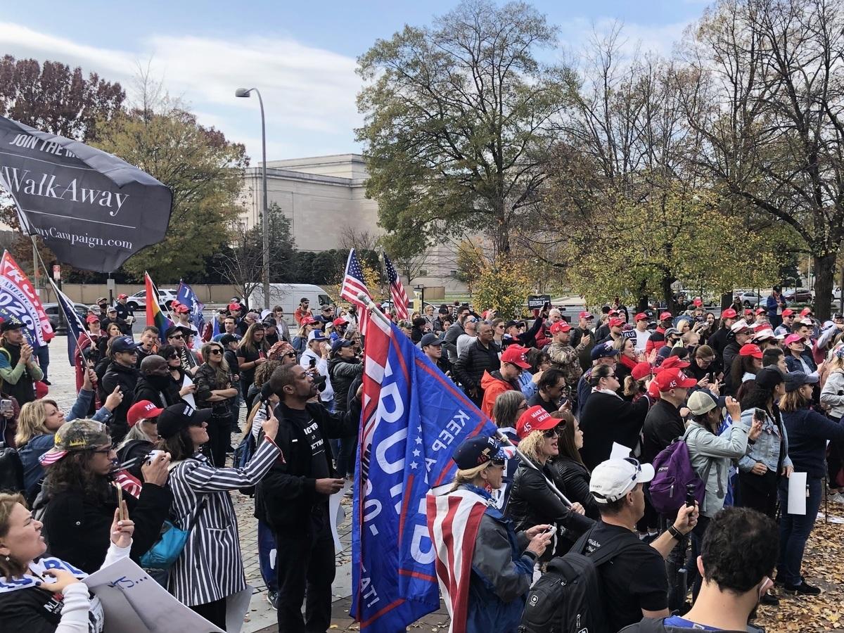 2020年11月15日,部份曾經是民主黨人的特朗普支持者在華盛頓集會,揭露極左派和主流媒體的謊言,捍衛美國的民主和憲法。(林樂予/大紀元)