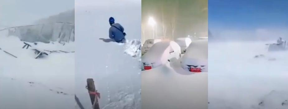 黑龍江齊齊哈爾等地降大雪。(影片截圖合成)