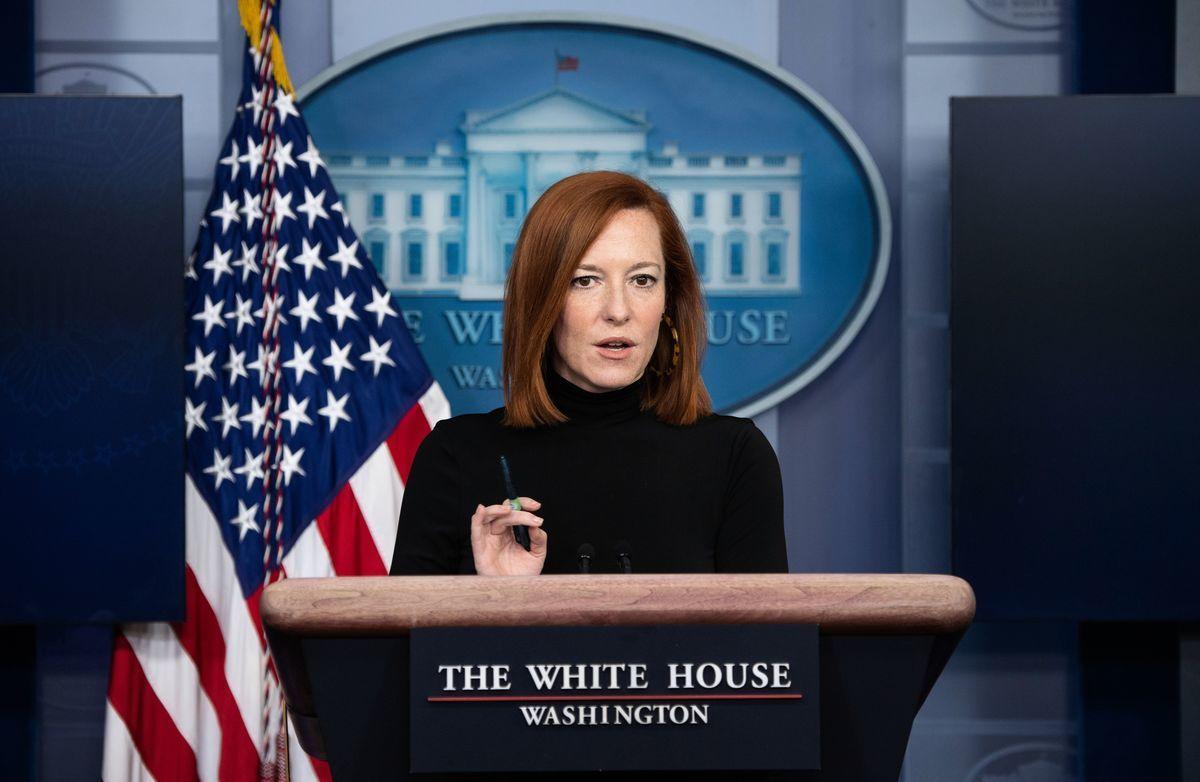 白宮新聞發言人普薩基(Jen Psaki)。(SAUL LOEB/AFP via Getty Images)