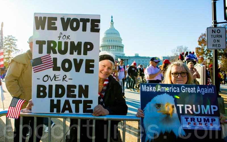 圖為2020年11月14日,在華盛頓DC,來自全美各地約五十萬人參加停止竊選(Stop the Steal)、MAGA百萬大遊行和集會。 (李莎/大紀元)