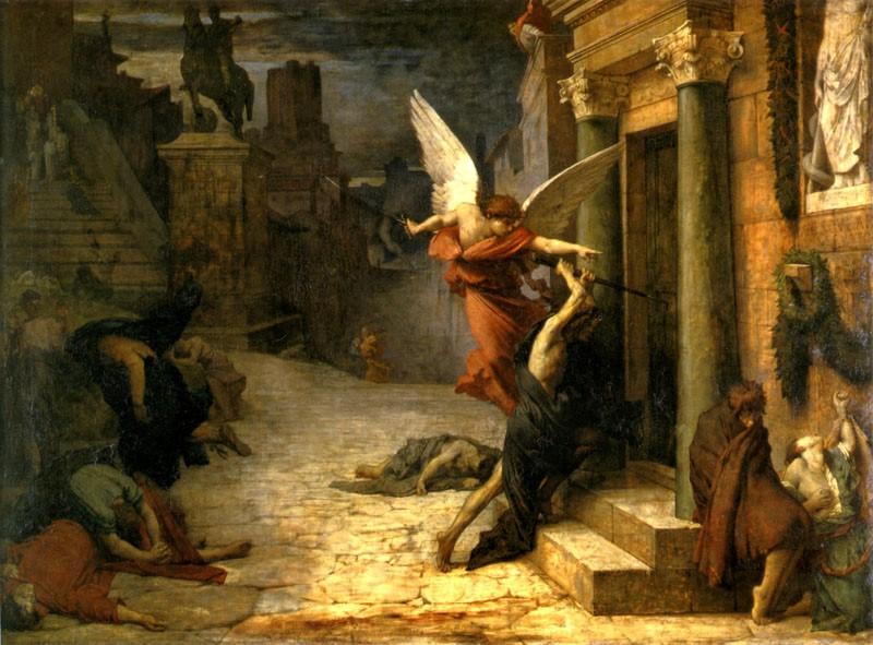 [法]居勒-埃裏·德洛內(Jules Elie Delaunay,1828-1891),《被瘟疫侵襲的羅馬城》(Peste a Rome),1869年作,巴黎奧塞美術館藏。(藝術復興中心提供)