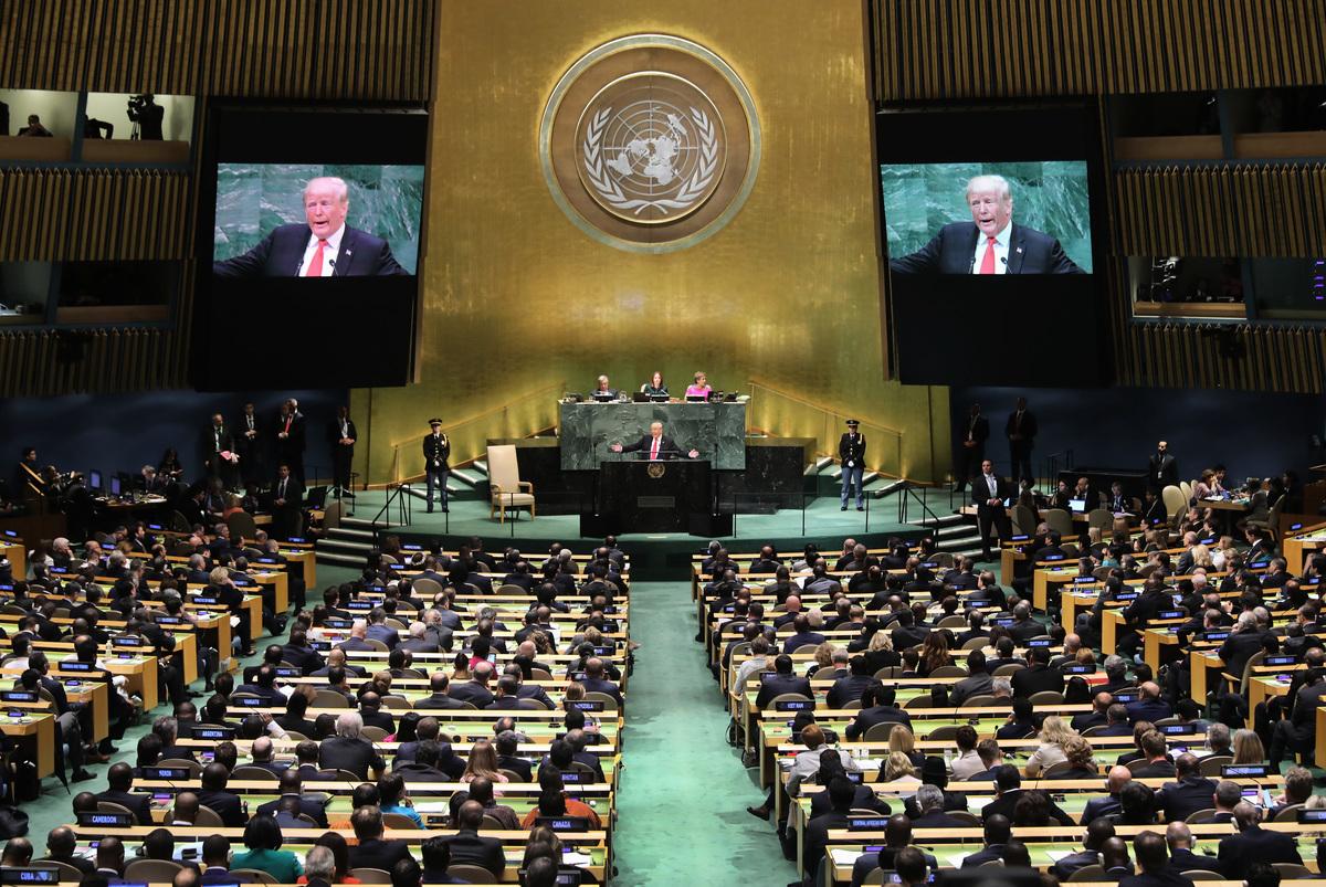 2020年9月22日,在第75屆聯合國大會一般性辯論上,美國總統特朗普公開表示,中共向世界「釋放」新冠病毒(中共病毒),中共必須為此負責。(John Moore/Getty Images)