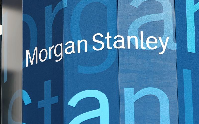 摩根士丹利將剔除10家中國公司的股票。圖為摩根士丹利位於紐約時代廣場總部。 (Mario Tama/Getty Images)