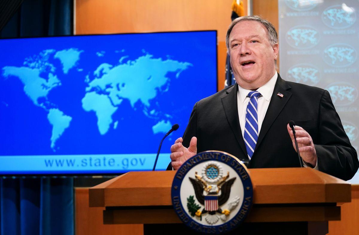 美國國務卿蓬佩奧2020年5月19日恭賀總統蔡英文即將展開第二任任期,他相信在蔡總統帶領下,美台關係將持續茁壯。(KEVIN LAMARQUE/POOL/AFP via Getty Images)
