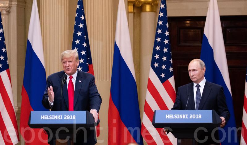 2018年7月,特朗普與普京在芬蘭舉行聯合記者發佈會。(Samira Bouaou/大紀元)