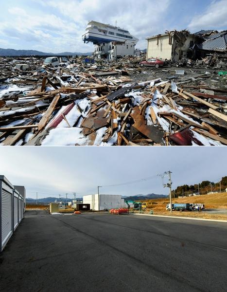 日本311大地震重災區岩手縣大槌町(Otsuchi, Iwate)的今昔對比圖。上圖攝於2011年4月16日,下圖攝於2021年3月4日。(YASUYOSHI CHIBA,KAZUHIRO NOGI/AFP via Getty Images)