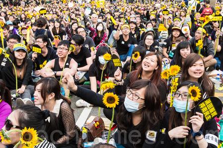 2014年台灣太陽花學運最後演變為一場台灣全體民眾參與的反抗中共統戰台灣的運動,喚醒了台灣民眾的抗共意識。(陳柏州/大紀元)