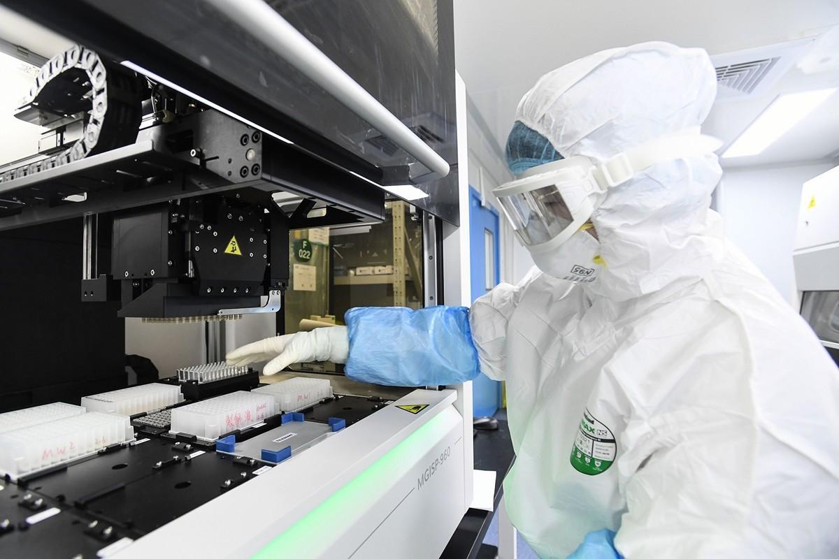 圖為中國武漢的一處實驗室2月6日檢測病人採樣中是否含有新冠病毒(中共病毒)。(STR/AFP via Getty Images)