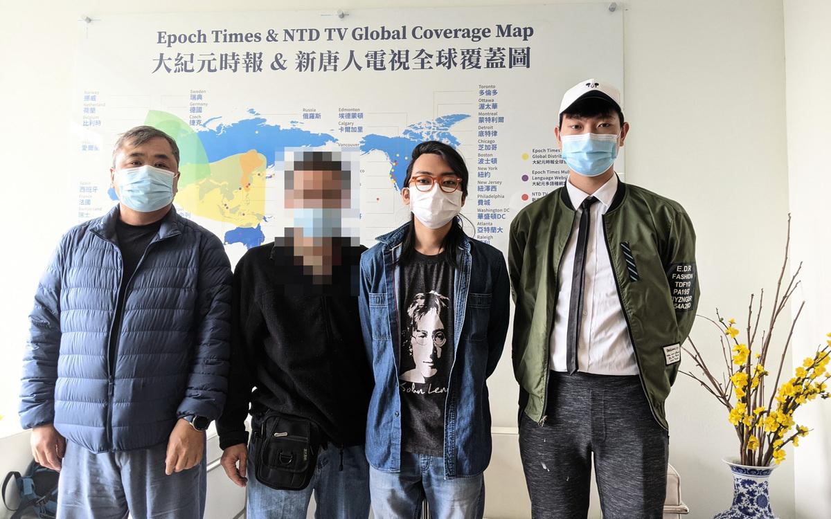 林納爾遜(Nelson Lam)、山姆(Sam)、林斯威(Stewie Lam)、梁凱爾(Kyle Leung)(由左至右)四名流亡港人接受洛杉磯大紀元、新唐人專訪。(徐繡惠/大紀元)