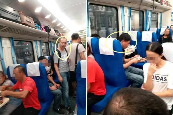 十一前,當局在各地瘋狂打壓異見人士、訪民等,圖為重慶南岸街道的男子跟蹤並將維權人士危文元截訪。(本人提供)